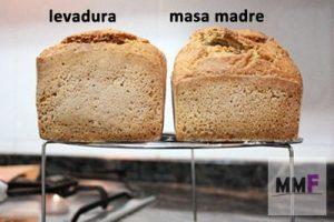 Dos panes. Uno de masa madre y el otro de levadura de panadero.