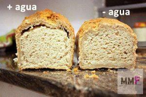 Dos panes. Uno tiene mas agua que el otro. El que tiene mas agua tiene la corteza despegada.