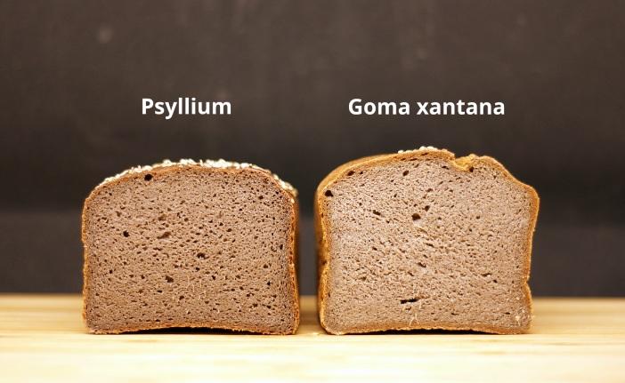 Pan sin gluten elaborado con psyllium y goma xantana, miga