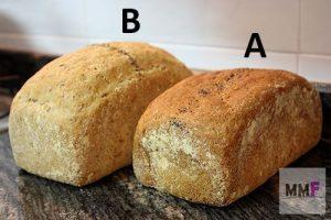 test comparativo, pan con harina de castaña y sin