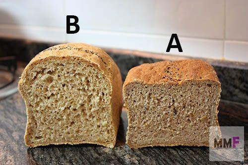 El pan A contiene harina de castaña, el pan B no.