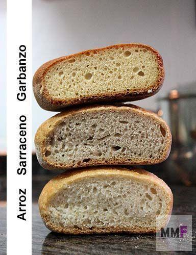 Pan de arroz, pan de garbanzo y pan de trigo sarraceno