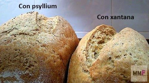 El pan con psyllium tiene una greña mas homogenea