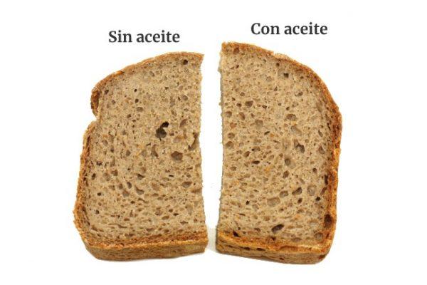 Rebanadas de pan sin gluten con y sin aceite