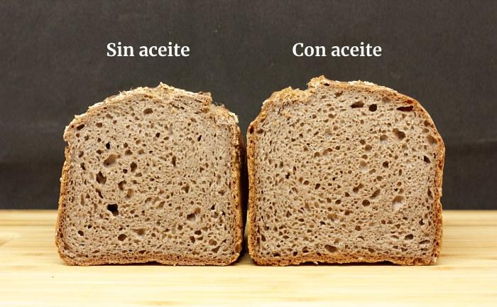 Miga de pan sin gluten con y sin aceite