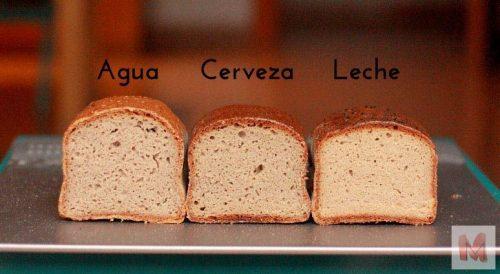 Vemos como el pan hidratado con agua sube un poco mas