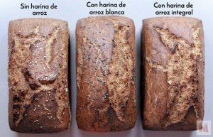 Panes sin gluten con harina de arroz integral y blanca