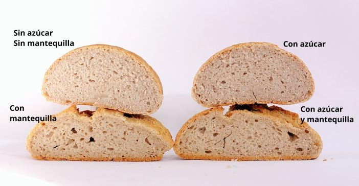 Panes sin gluten enriquecidos con mantequilla y azúcar miga