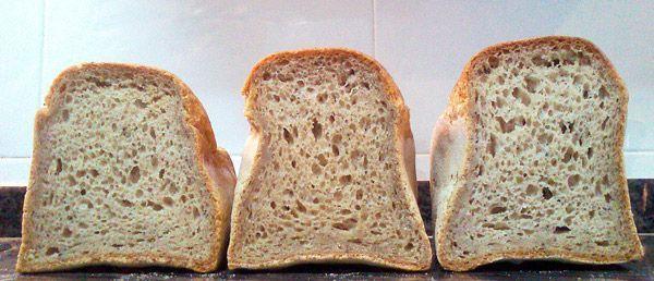 Panes sin gluten sobrefermentados con paredes débiles.